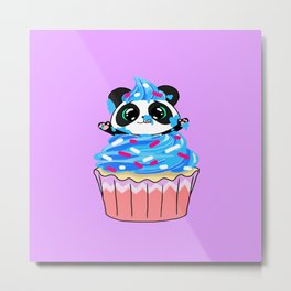 A Panda Popping out of a Cupcake Metal Print