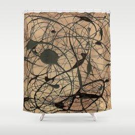 Pollock Inspired Cool Abstract Splatter Drip Art Painting - Corbin Henry Shower Curtain