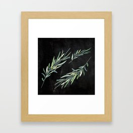 Eucalyptus leaves on chalkboard Framed Art Print