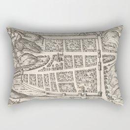 Vintage Map of Edinburgh Scotland (1581) Rectangular Pillow