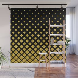 Art Deco Glitter-Gold Diamonds on Black Pattern Wall Mural