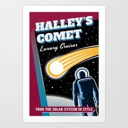 Halleys Comet Retro Space Travel Illustration Art Print