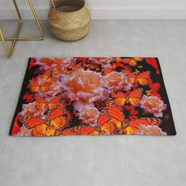 Decorative Old Roses Gold-Red Butterflies Rug