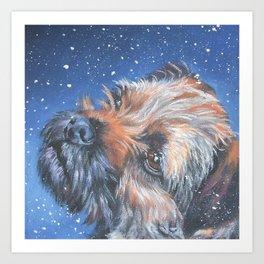 Border Terrier dog portrait art from an original painting by L.A.Shepard Art Print