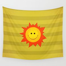 Smiling Happy Sun Wall Tapestry