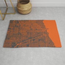 Chicago map orange Rug