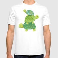 Turtle Stack Mens Fitted Tee MEDIUM White