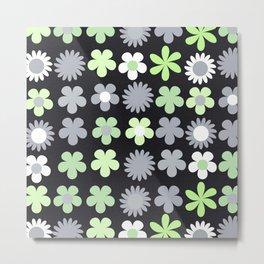 Agender Pride Simple Flowers Grid Pattern Metal Print