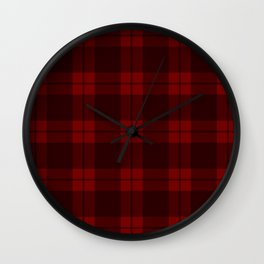 Crimson Plaid Wall Clock