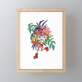 Floral Roller Babe Framed Mini Art Print
