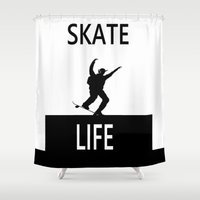 skate Shower Curtains featuring SKATE LIFE by shannon's art space