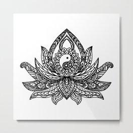 Yin Yang Lotus - Black Metal Print