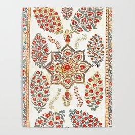 Bokhara Suzani Southwest Uzbekistan Embroidery Print Poster