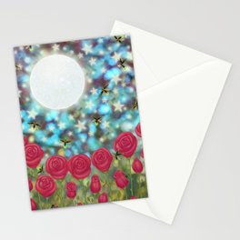 the moon, stars, fireflies, & roses Stationery Cards