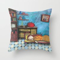 cinderella Throw Pillows featuring Cinderella by Agnes Laczo
