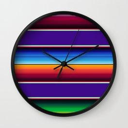 Traditional Mexican Serape in Purple Wall Clock