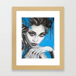 Portrait w/ blue Framed Art Print