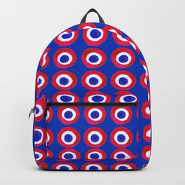 Donut Evil Eye Amulet Talisman - red on blue doughnut Backpack
