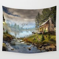 wildlife Wall Tapestries featuring Wildlife Landscape by FantasyArtDesigns