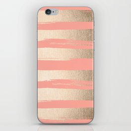 Painted Stripes Tahitian Gold on Coral Pink iPhone Skin