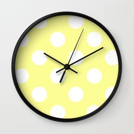 Large Polka Dots - White on Pastel Yellow Wall Clock