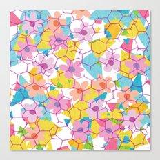 Digital spring flowers behind grid Canvas Print