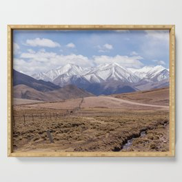 Dirt mountain road in Tibet Serving Tray