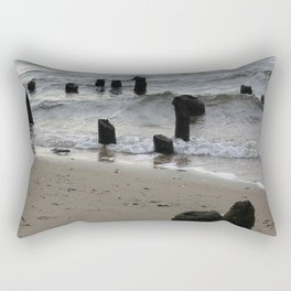 old dock with wave Rectangular Pillow
