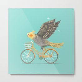 Cockatiel on a Bicycle Metal Print