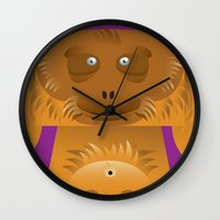 furry Wall Clocks featuring Furry Ape by Yay Paul