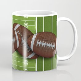 Football Field with Rows of Footballs Coffee Mug
