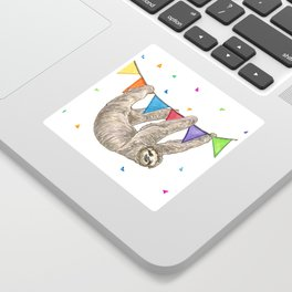 Sloth with Bunting #1 Sticker