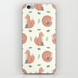 Foxes on Cream Background iPhone Skin