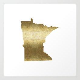 minnesota gold foil state map Art Print