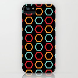 Red, Orange, & Blue Hexagons on Black iPhone Case
