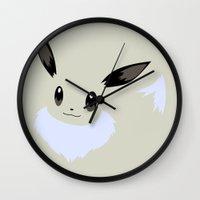 eevee Wall Clocks featuring Shiny Eevee by Rebekhaart