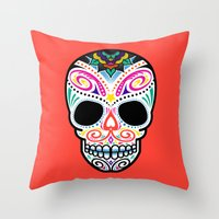 mexican Throw Pillows featuring Mexican Skull by Blank & Vøid