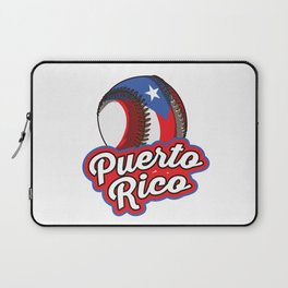 Puerto Rico Baseball | Proud Boricua Flag Laptop Sleeve