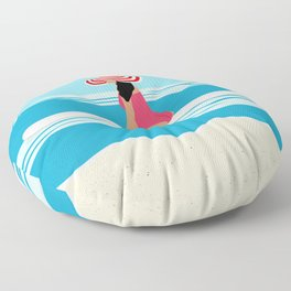 Solo surfing woman Floor Pillow