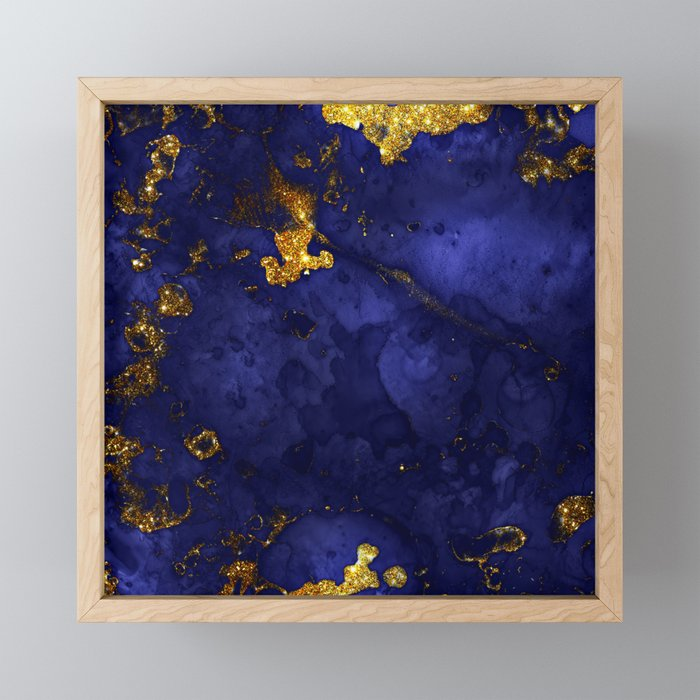 Gold Blue Indigo Malachite Marble Framed Mini Art Print