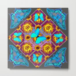 WESTERN STYLE TURQUOISE BUTTERFLIES FLORAL ART Metal Print