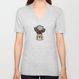 Cute Pug Puppy Dj Wearing Headphones and Glasses on Blue Unisex V-Neck