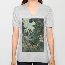 The Equatorial Jungle by Henri Rousseau, fine french art Unisex V-Neck