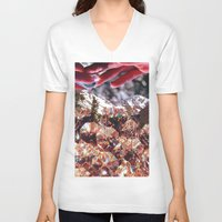 crystals V-neck T-shirts featuring Crystals by Collage Heaven