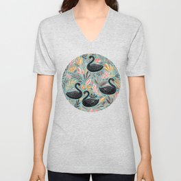 Bonny Black Swans with Autumn Leaves on Sage Unisex V-Neck