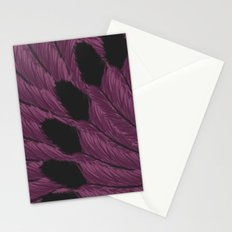Watercolor Purple and Black Tipped Feathers Stationery Cards