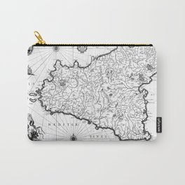 Vintage Map of Sicily Italy (1600s) BW Carry-All Pouch