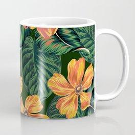 Fancy Tropical Floral Pattern Coffee Mug