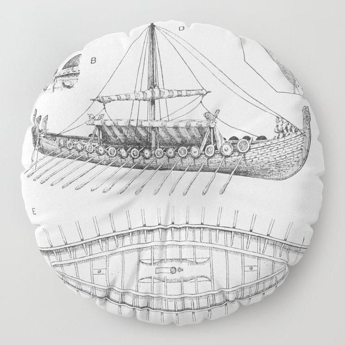 Vintage Viking Naval Ship History and Diagram Floor Pillow