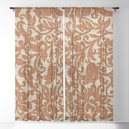 An exotic brown color Javanese floral pattern weaved fabric as textural background. Sheer Curtain